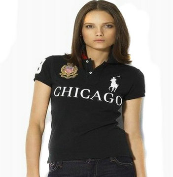 women ralph lauren sport cotton t-shirt black chicago
